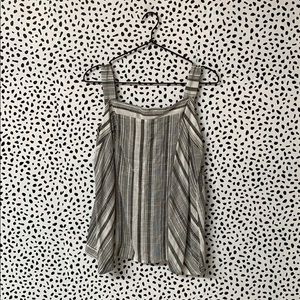Striped Button Up Back Tank Top